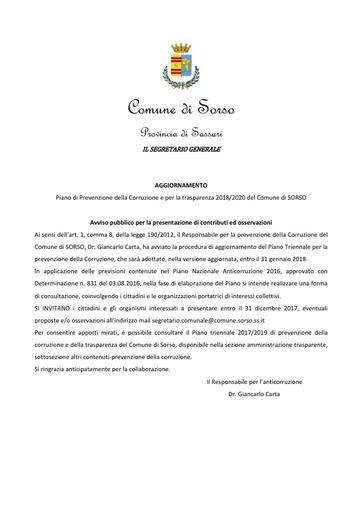 Avviso presentazione osservazioni PTPCT 2018-2020 SORSO