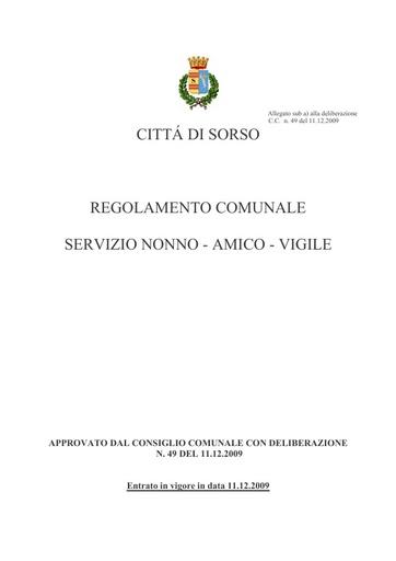 REGOLAMENTO COMUNALE SERVIZIO NONNO - AMICO - VIGILE