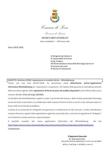 Direttiva 3 2018  Whistleblowing