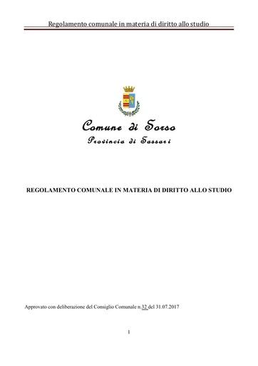 REGOLAMENTO COMUNALE SUL DIRITTO ALLO STUDIO D C C N 32 DEL 31 07 2017