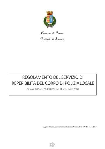 Regolamento reperibilità polizia locale